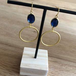 FUSHI Oorbel facet geslepen crystal ovaal blauw met metalen ring