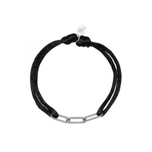 Armband Satin Chains Zwart met zilver