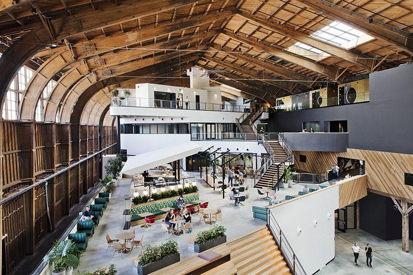 ZGF transforms historic wood-frame hangar into google's playa vista offices in california