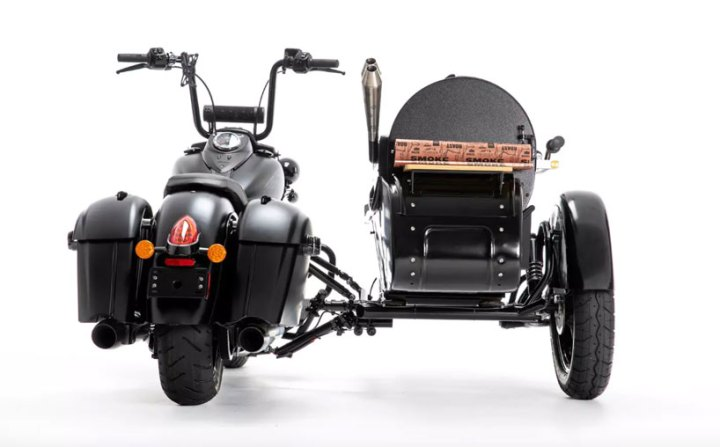 indian's motorcycle has a built in barbecue so you can grill on the go