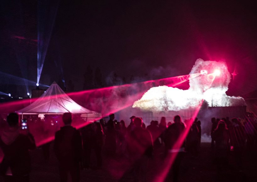 kaja haven builds a giant persian cat with laser machine eyes for copenhagen festival designboom