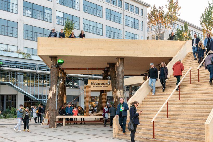 studio marco vermeulen builds against climate change with wooden biobasecamp pavilion designboom