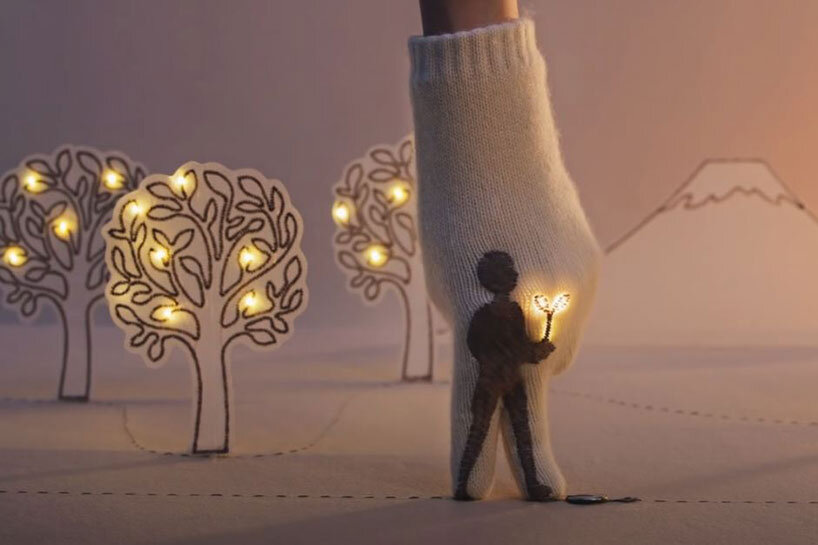 japanese ad 'connecting thoughts' lights up twinkling stitched figures