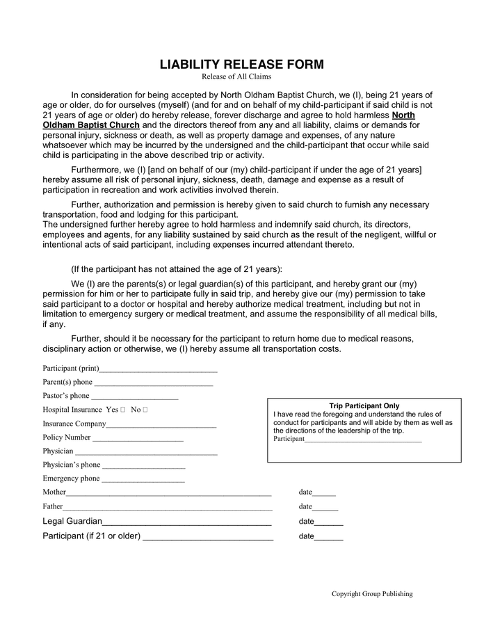 sample form blank example of information forms printable blank – Release of Liability Letter Template