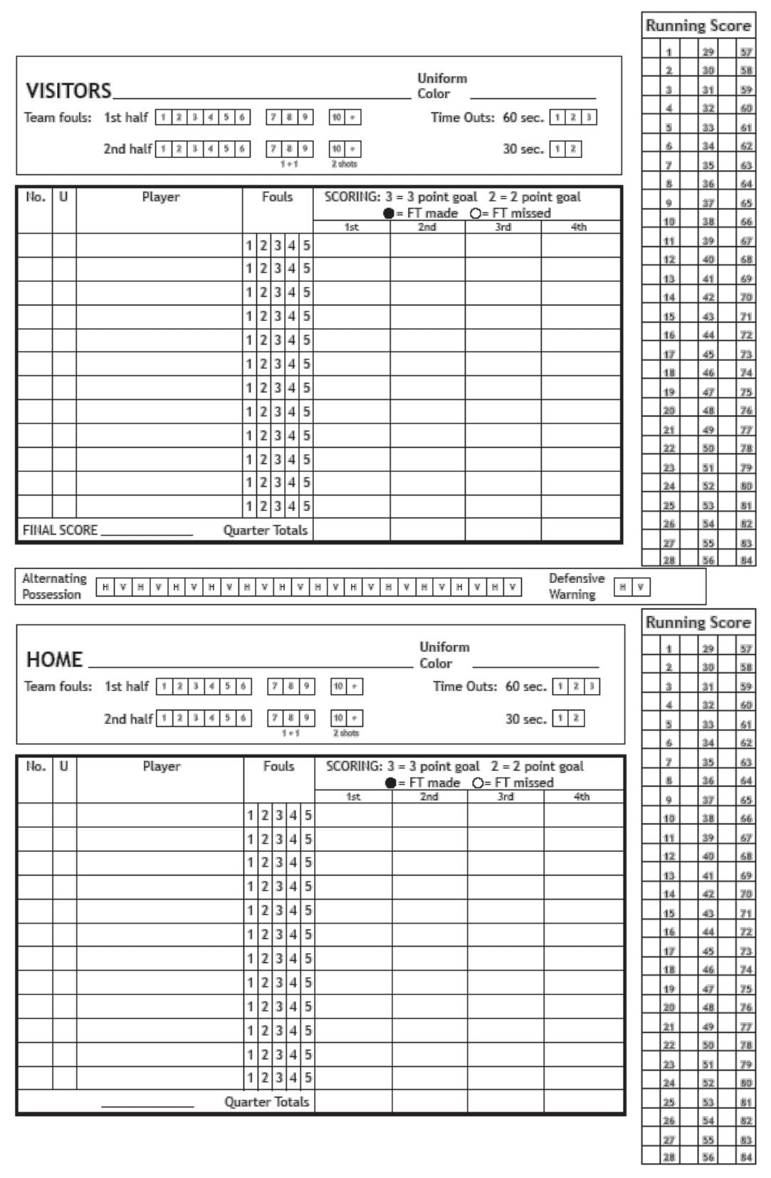 Basketball Sheet Template Pdf Stat