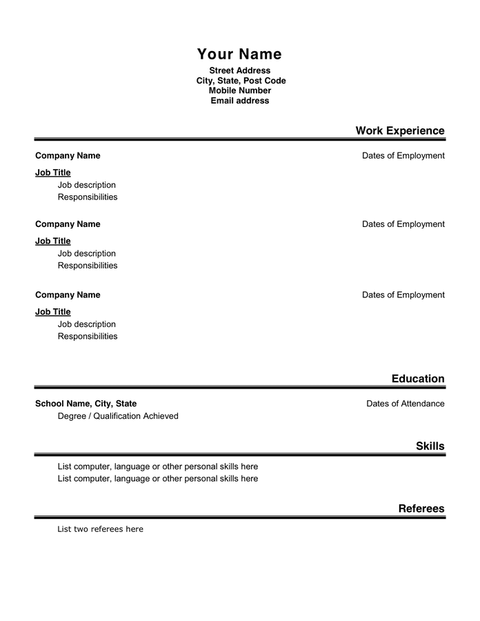 Basic Resume Format Pdf. Sample Simple Resume Format Simple Resume