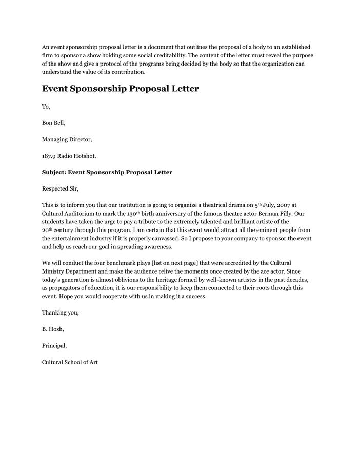 Doc697795 Sponsorship Proposal Letter 40 Sponsorship Letter – Sample Proposal for Sponsorship for an Event