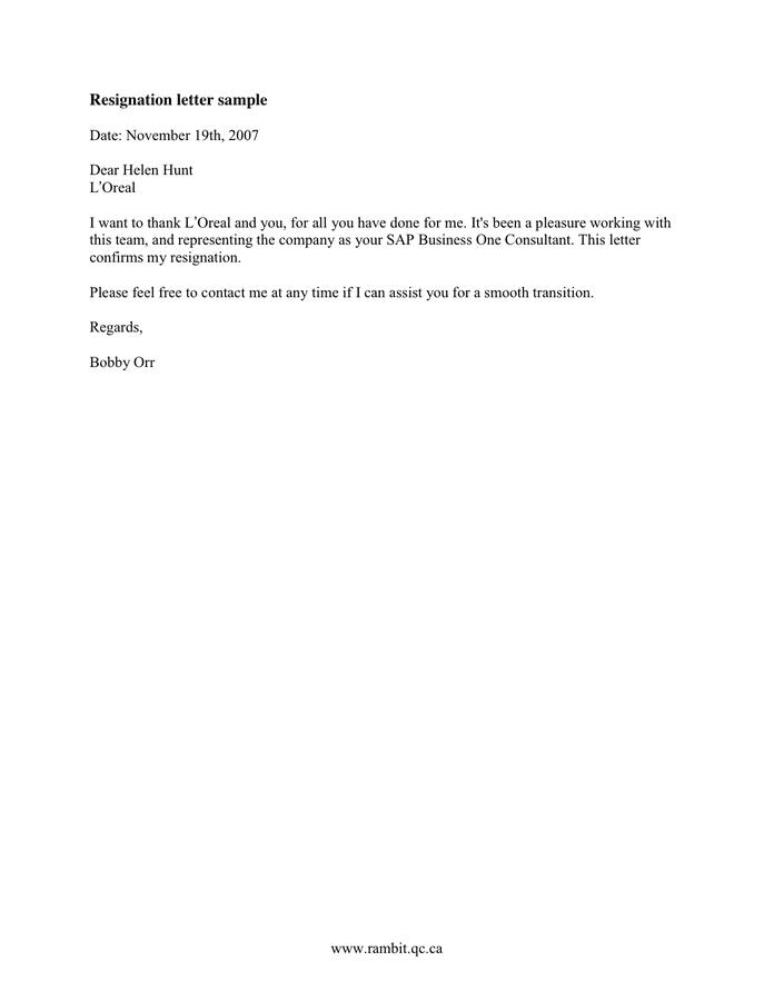 Sample Resignation Template. download resignation letters pdf amp ...