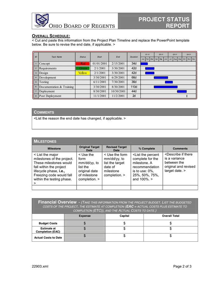 Status Template. Project Status Report Template In Word And Pdf