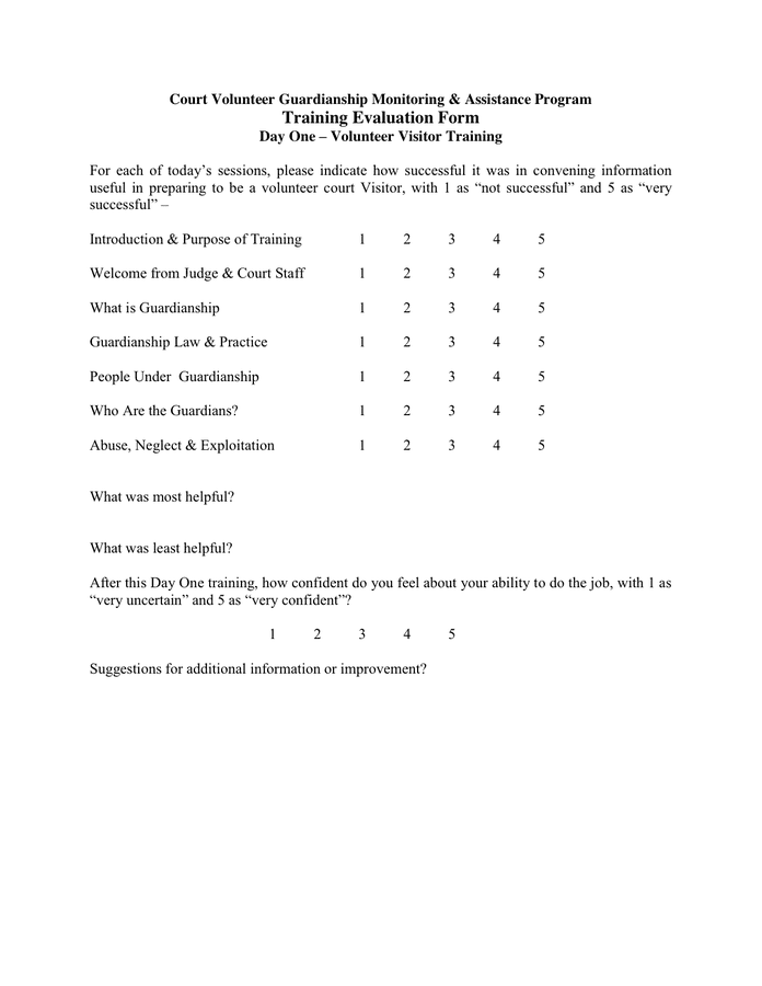 Doc600630 Evaluation Forms for Trainers Training Evaluation – On the Job Training Evaluation Form