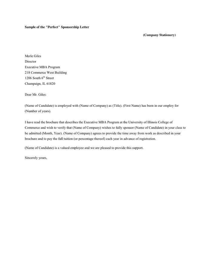 writing a letter to ask for sponsorship