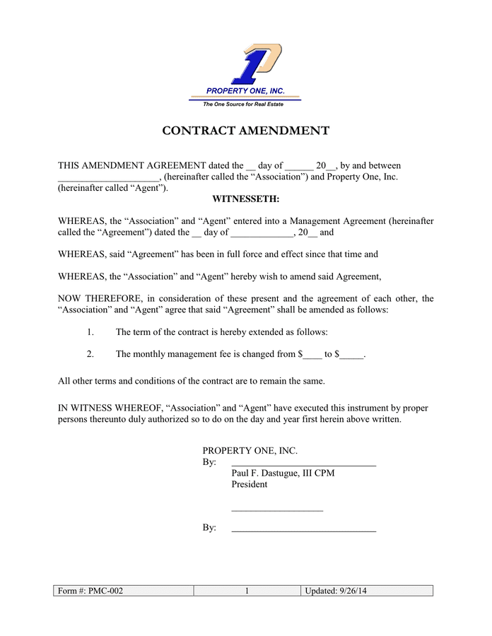 Amendment Template. contract amendment template forms and ...