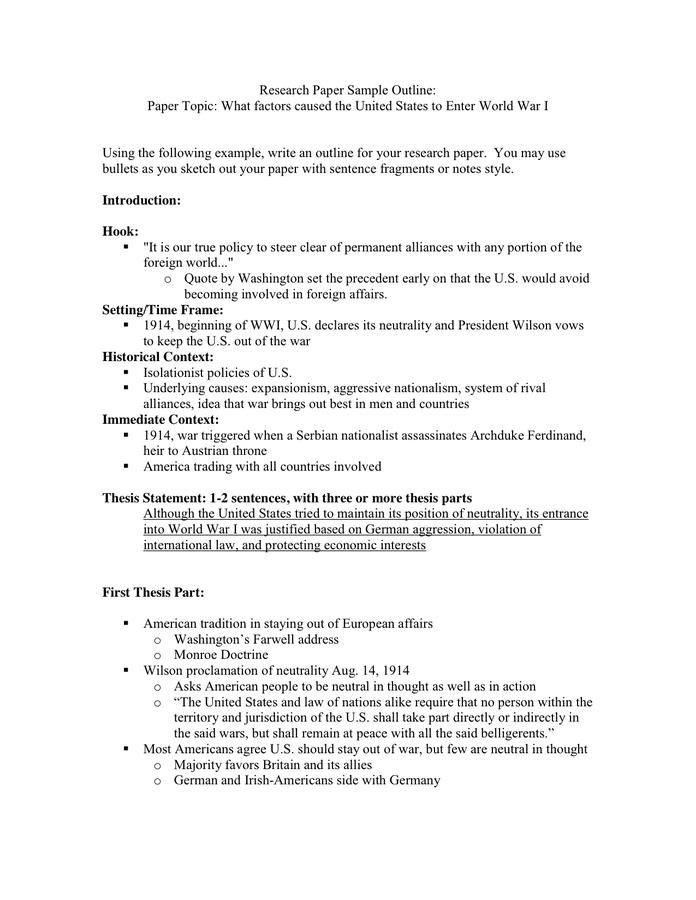 World war i research paper topics