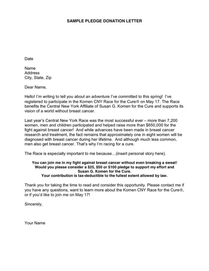 sample pledge letter for donation newsinvitation co