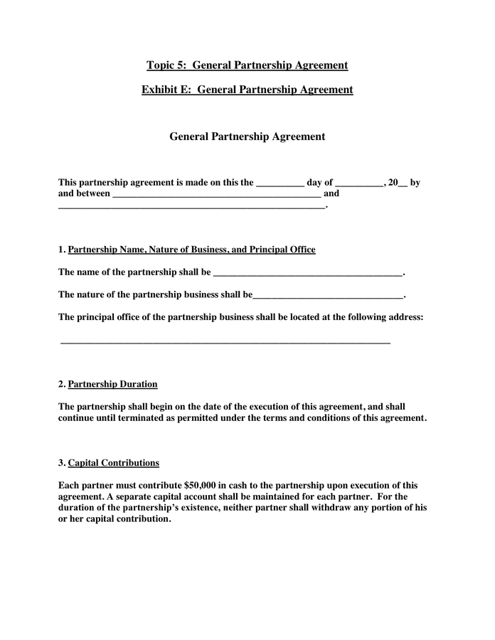 General Agreement Template. partnership for excel pdf and word ...