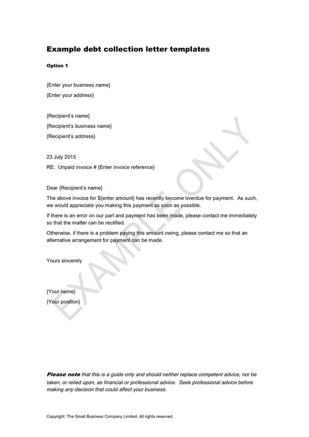 example debt collection letter templates in word and pdf formats