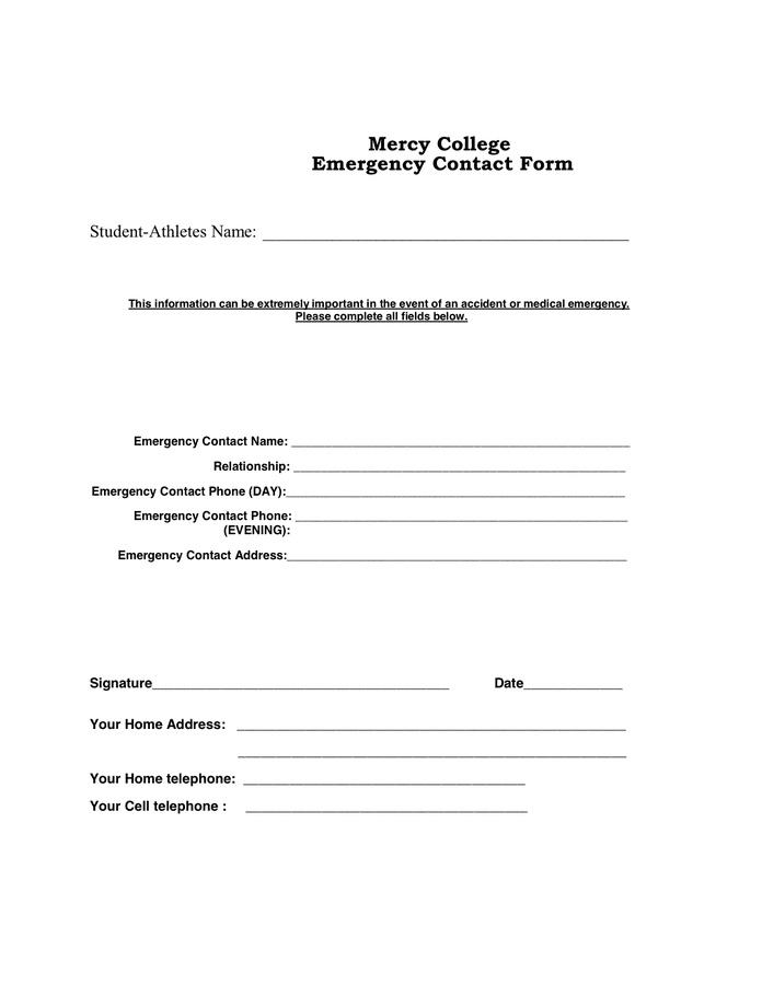 Emergency Contact Form Template. printable. emergency contact ...