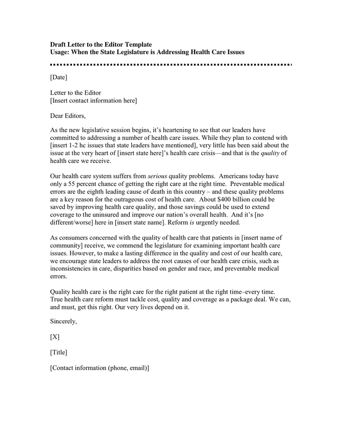 format for writing a letter to the editor sample cover