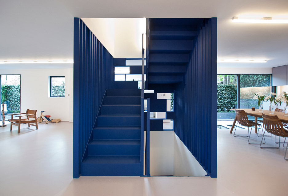 A bright blue staircase