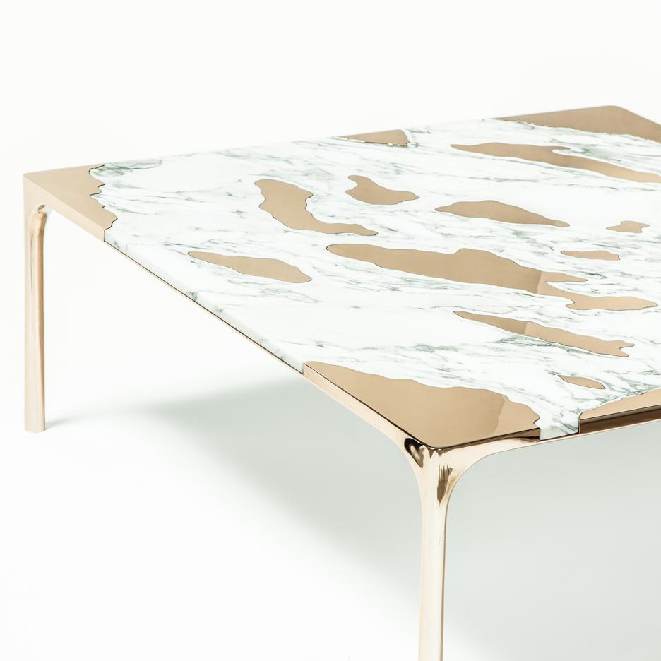 marble vs bronze coffee table