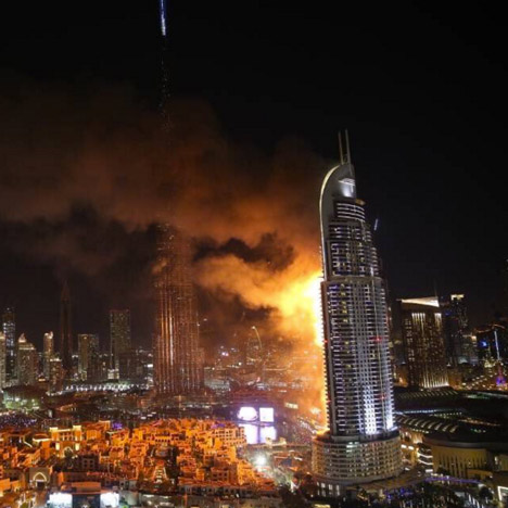 Fire breaks out at Address Hotel in Downtown Dubai