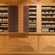 Aesop store in Oslo designed by Snøhetta covered with three dimensional oak panels