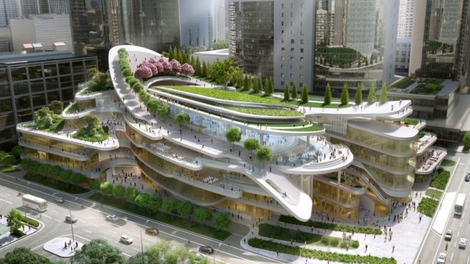 Sledding path to loop around roof garden of Beijing civic centre by     Sledding path to loop around roof garden of Beijing civic centre by Andrew  Bromberg