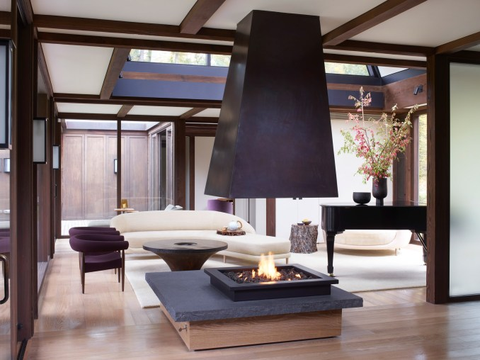 Living space with Japanese informed fireplace