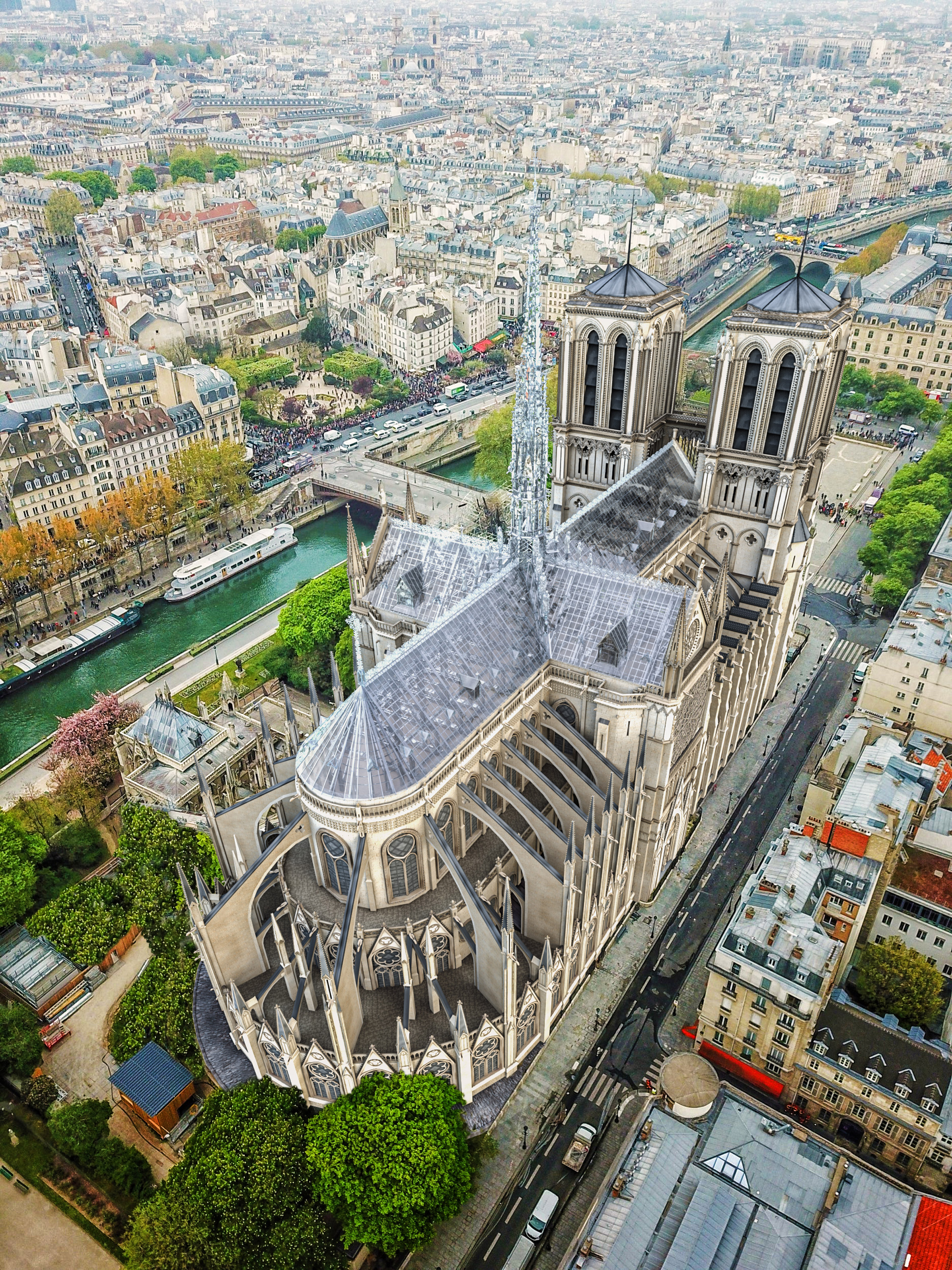 Eight Inc proposal for Notre-Dame Cathedral in structural glass