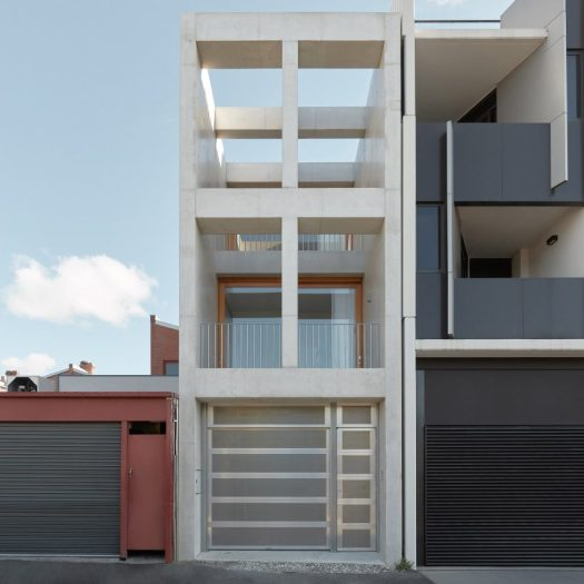 An exposed concrete frame supports this 4.2-metre-wide skinny house in Melbourne designed by Oliver du Puy Architects to feature meditation spaces.