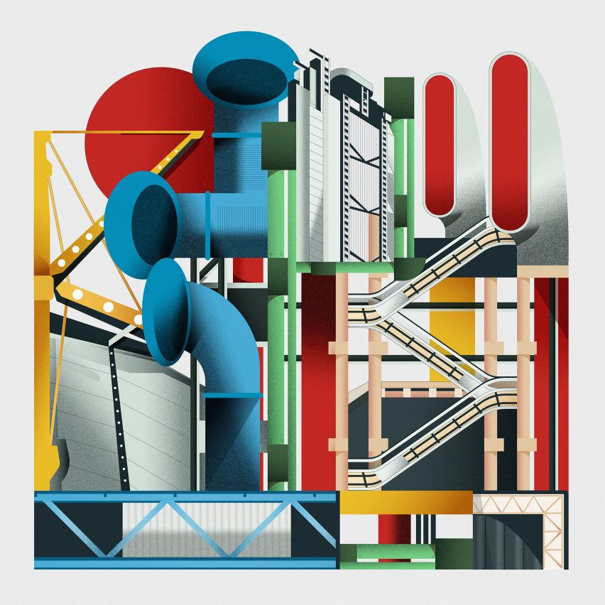 High-tech architecture illustration by Jack Bedford