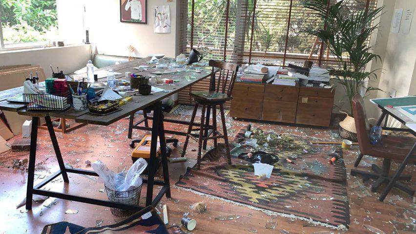 Paola Sakr's studio after the Beirut explosion