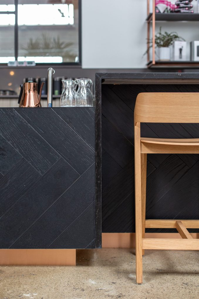 Counter detail in Pallet Coffee Roasters HQ by Alice D'Andrea