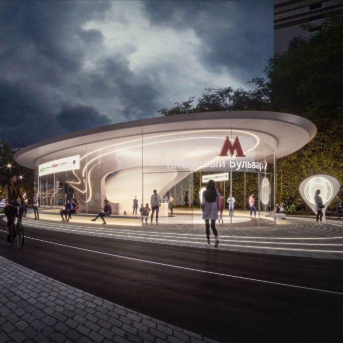 Klenoviy Boulevard Station 2 on Bolshaya Koltsevaya Line in Moscow by Zaha Hadid Architects