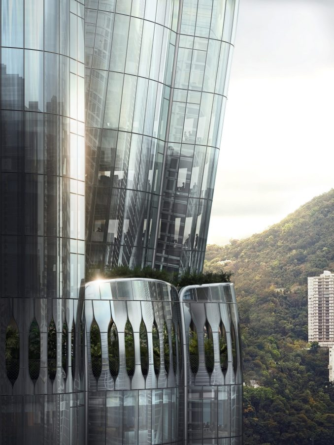 Hong Kong skyscraper at 2 Murray Road with tree-filled balconies