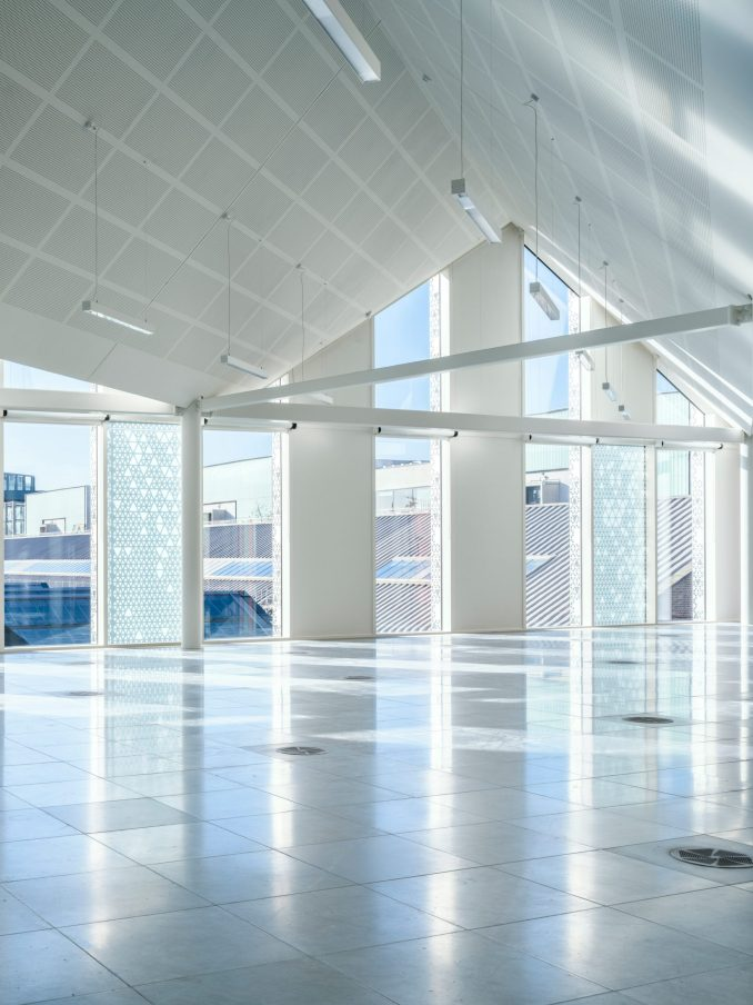 Pitched ceiling in office space