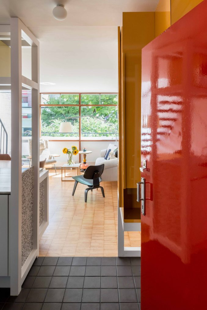 View through front door at Golden Lane flat by Archmongers