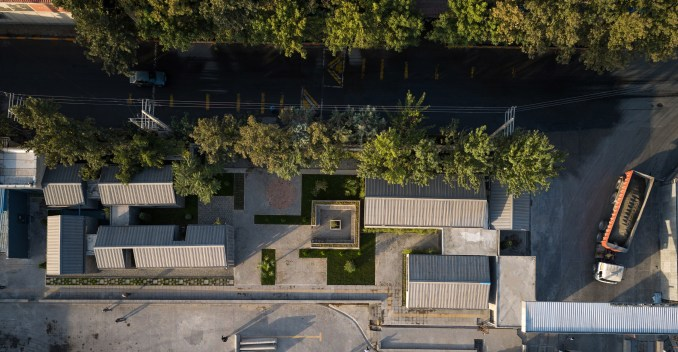 Aerial view of the Aptus Factory Showroom by Hooba Design Group