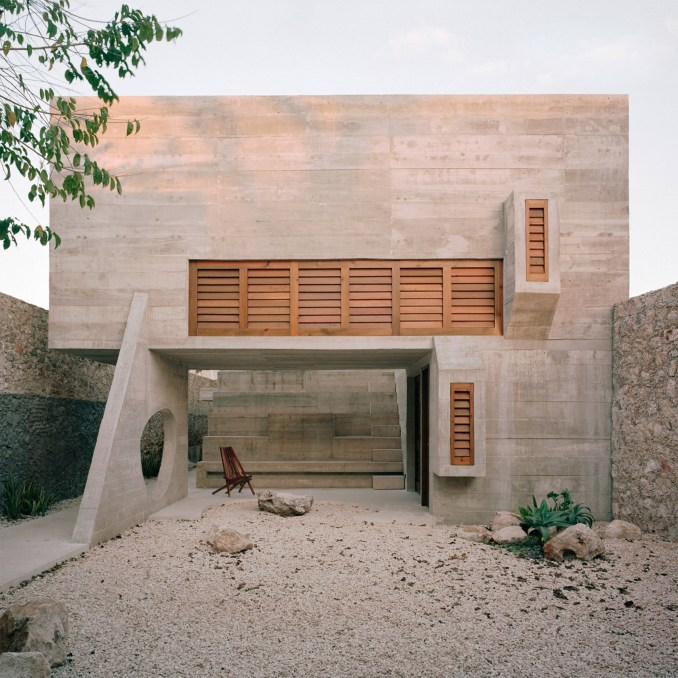A courtyard inside Casa Mérida, Mexico, by Ludwig Godefroy