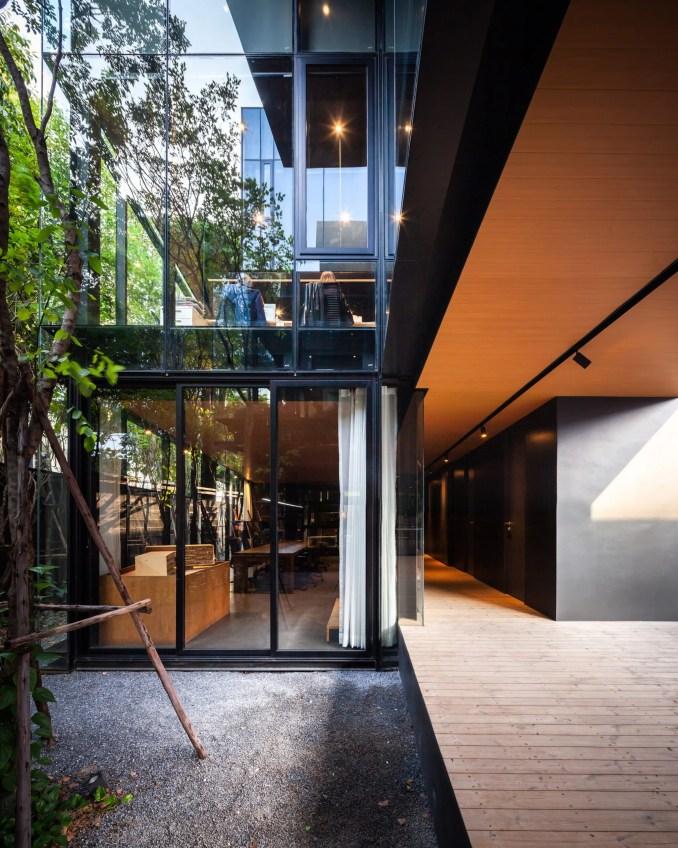 A courtyard inside IDIN Architects Office in Bangkok, Thailand