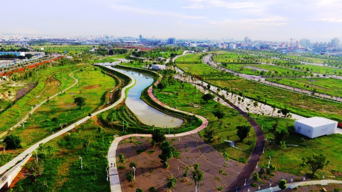 Planting in Phase Shifts Park designed by landscape architects Mosbach Paysagistes in Taichung, Taiwan