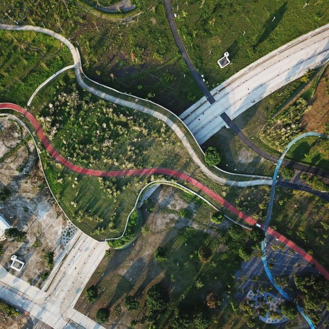 Phase Shifts Park designed by landscape architects Mosbach Paysagistes in Taichung, Taiwan
