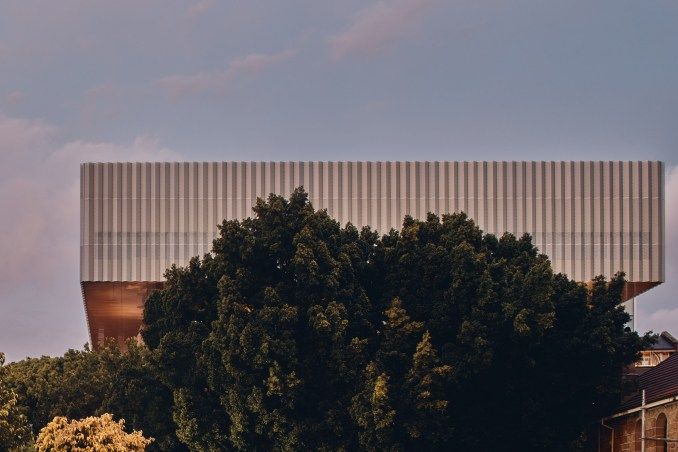 The perforated-metal cladding of the WA Museum Boola Bardip by OMA and Hassell