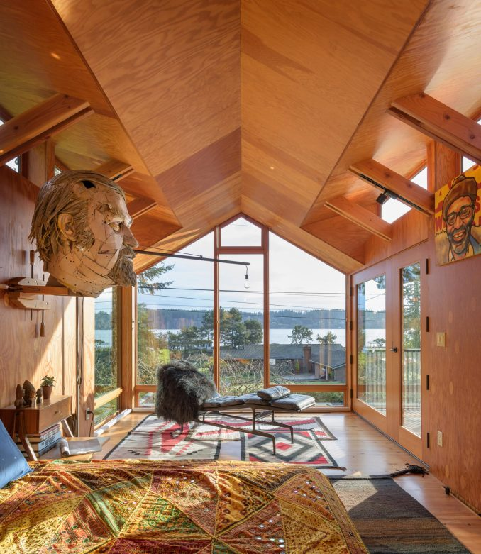 Bedroom of Agate Pass Cabin by Olson Kundig Architects
