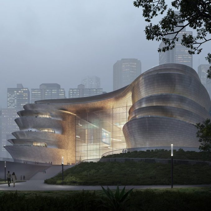 Terraces at the entrance of the proposed Shenzhen Science and Technology Museum by Zaha Hadid Architects in China