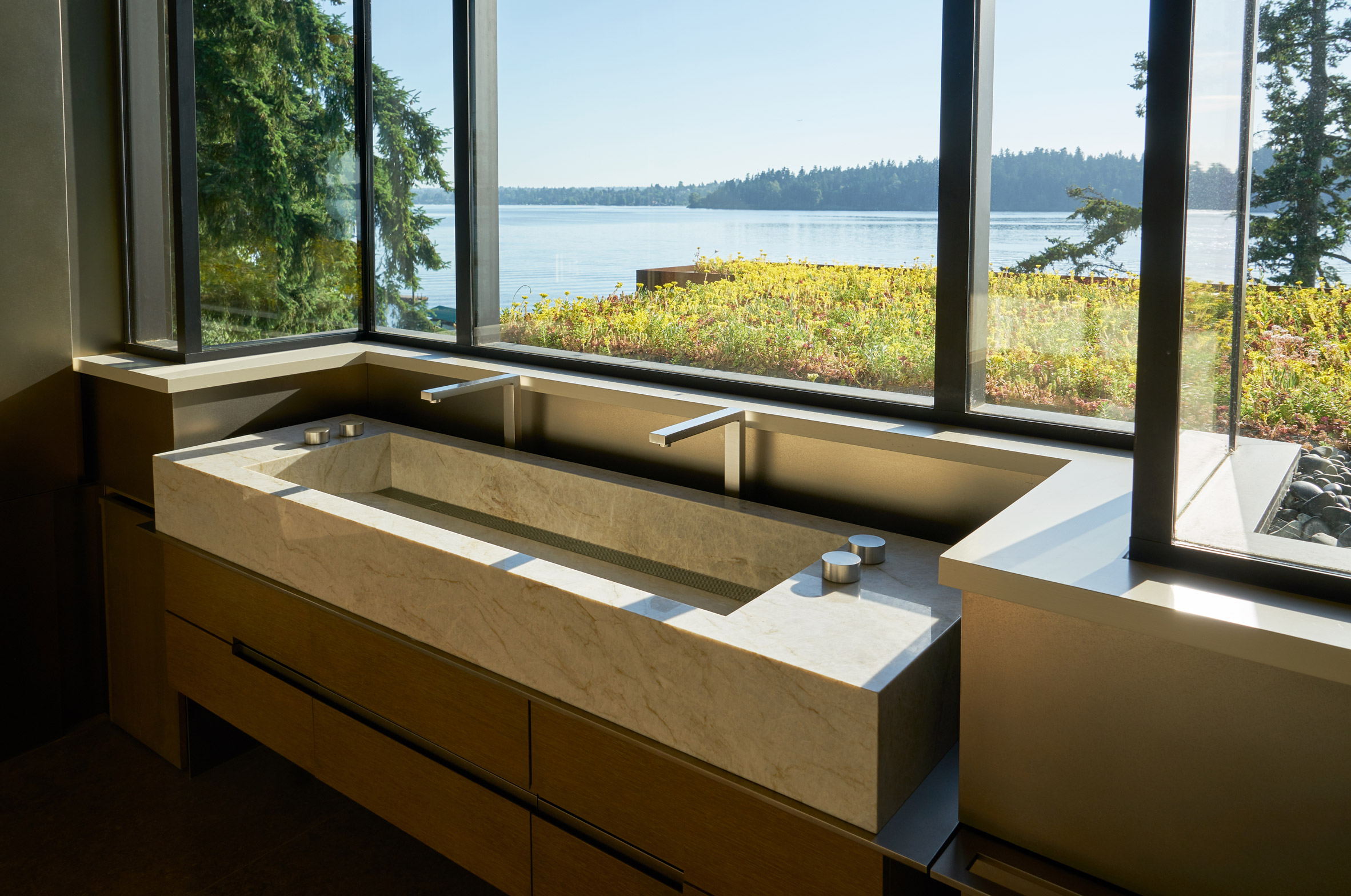 Sink has views of the lake
