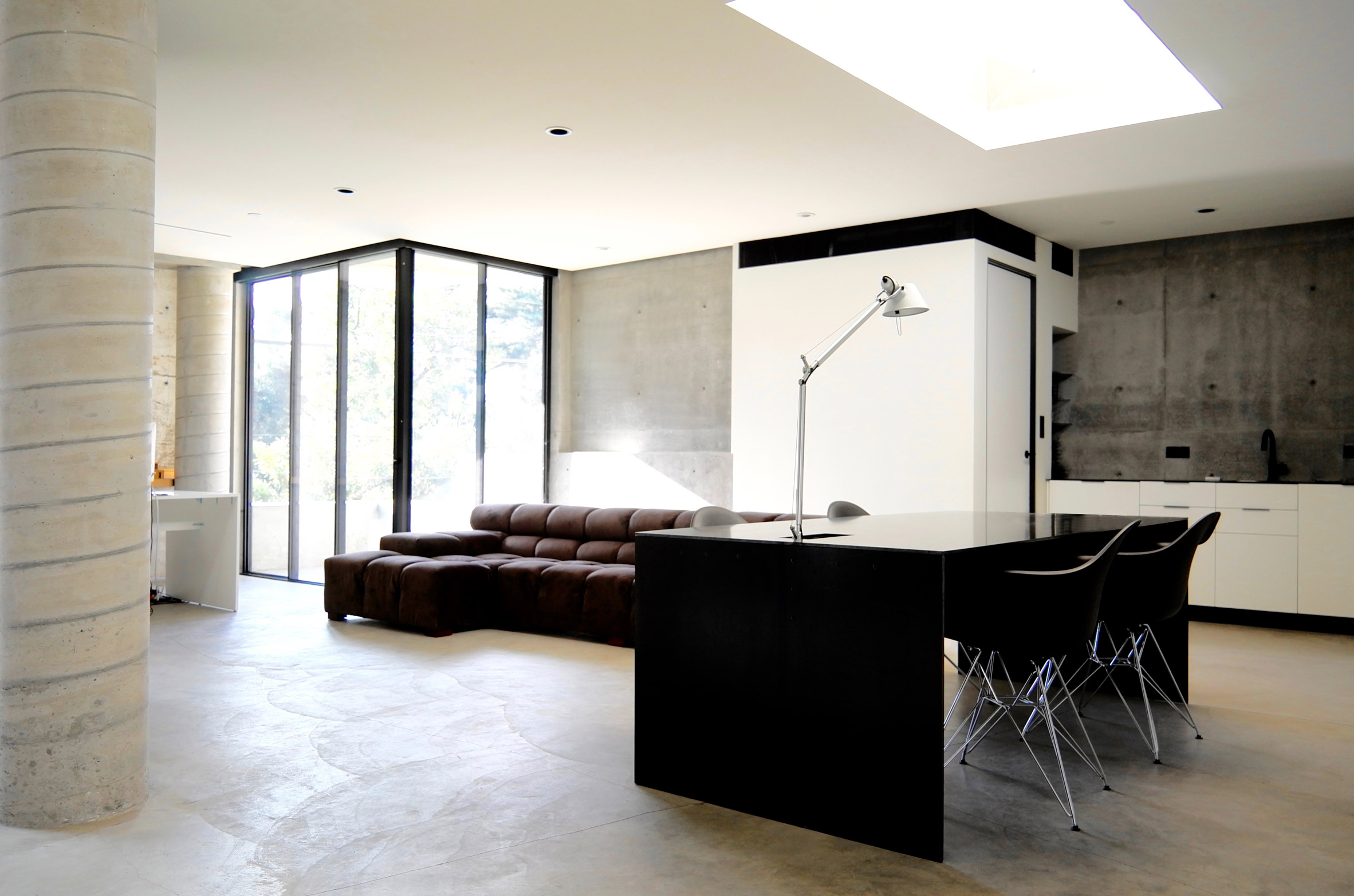Skylights in concrete home office in Beverly Hills