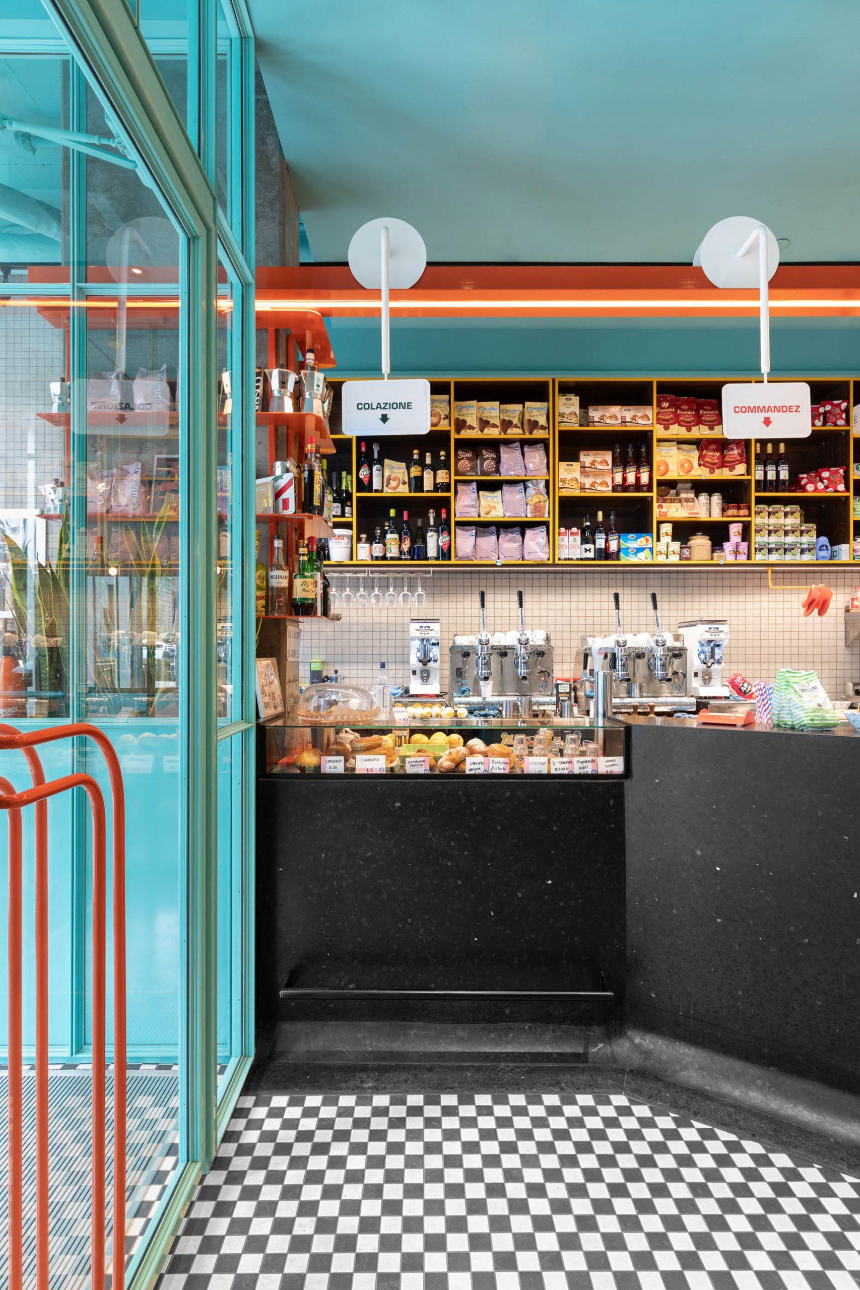 The monolithic black terrazzo bar at Caffettiera Caffé Bar