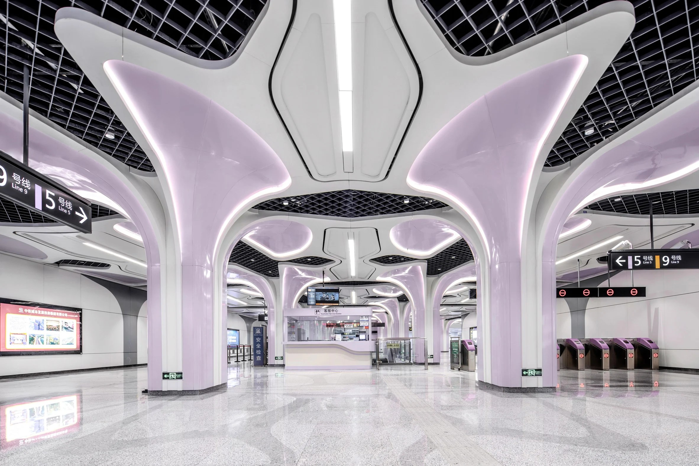 Jincheng Avenue Station designed by J&A and Sepanta Design for Chengdu's metro Line 9