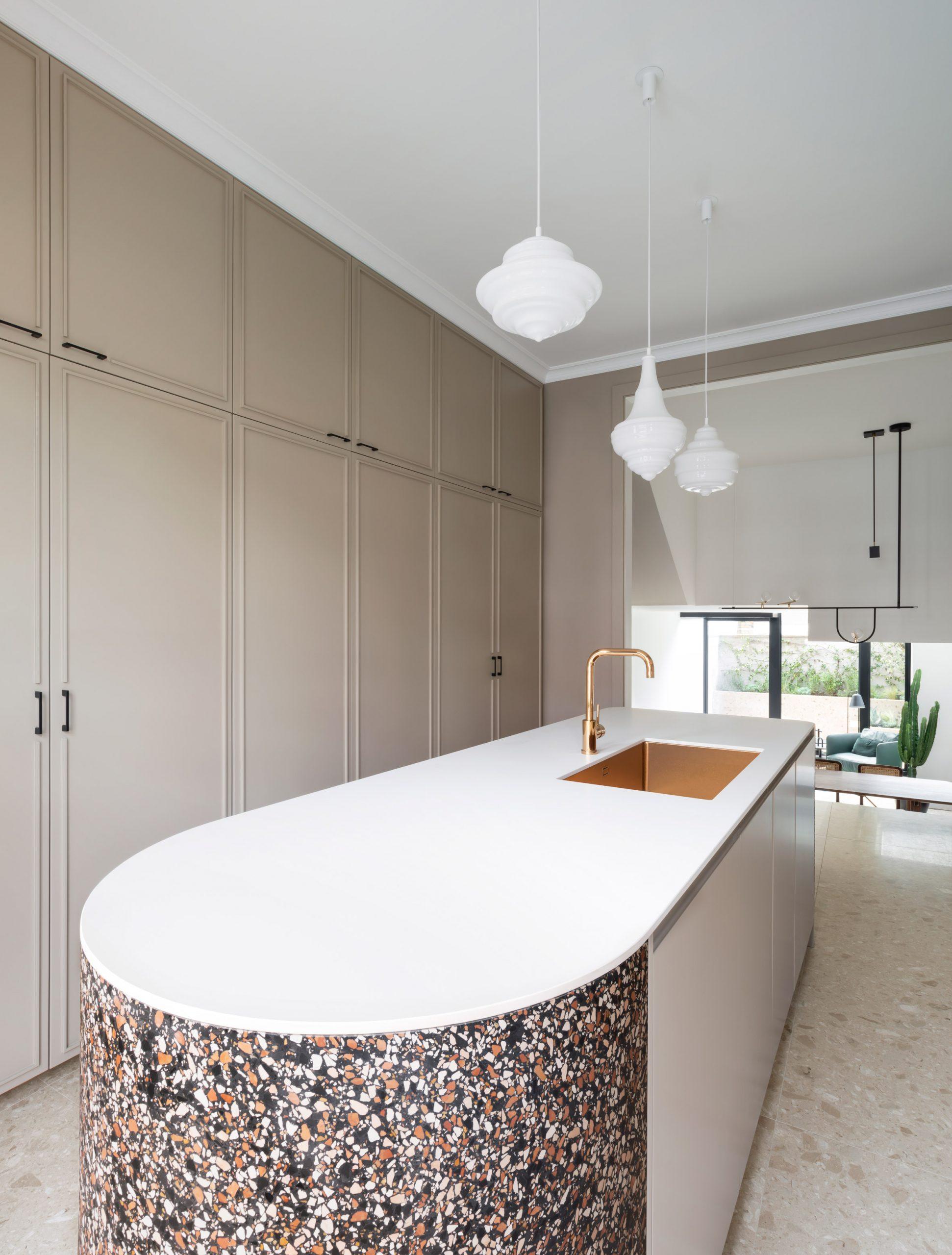 Terrazzo kitchen at Frame House by Bureau de Change